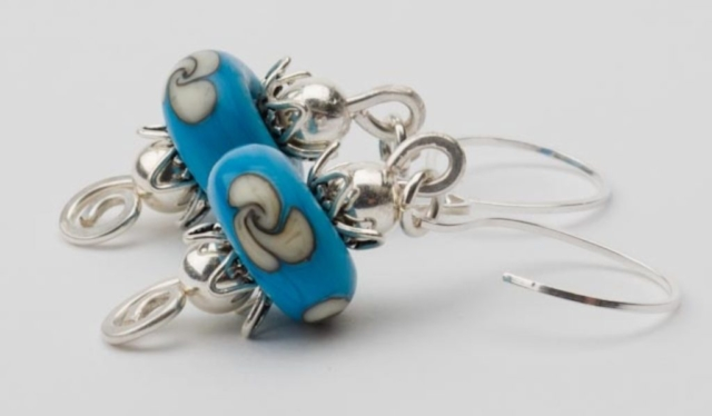 Sterling Silver Earrings with Hand Blown Lampwork Beads