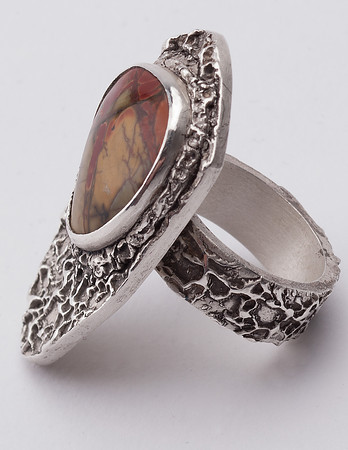 Fine silver ring natural inset stone