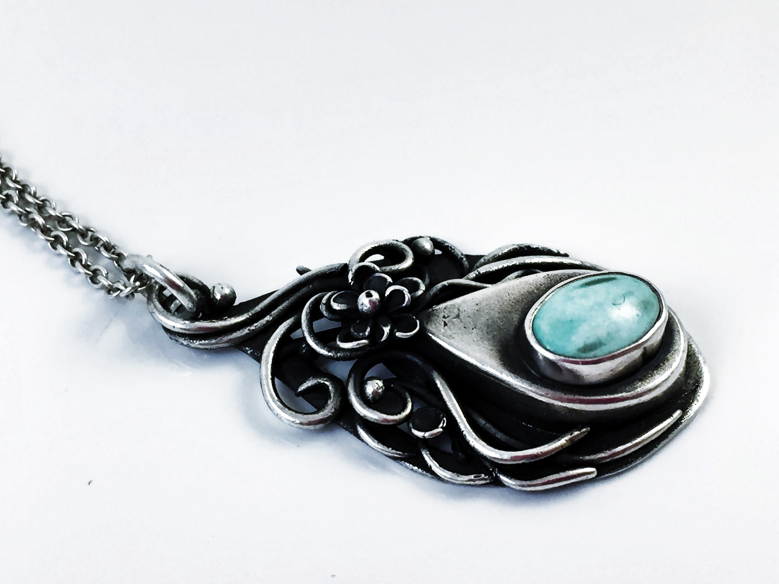 Fine silver turquoise hand sculpted women's necklace