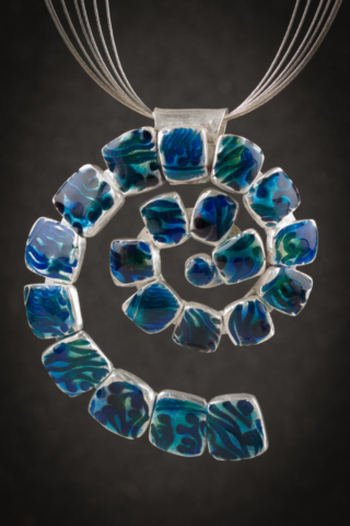 Fine Silver Hand Sculpted and Enamel Pendant on Sterling Silver Necklace