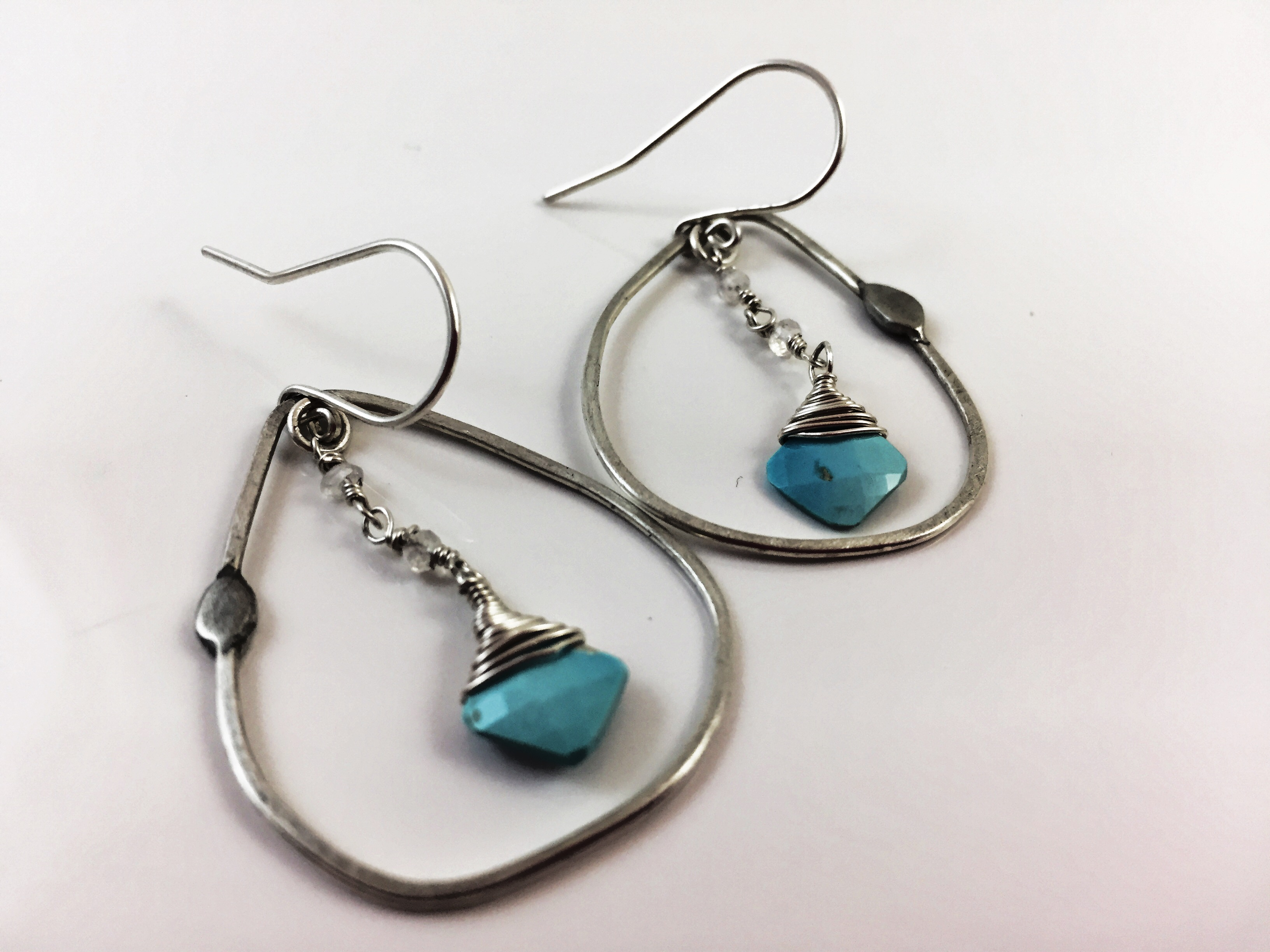 Sterling silver handmade earrings with Faceted Turquoise and Swarovski stones - Wabi series